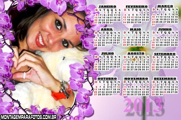 Calendário Flores Lilás 2013