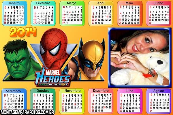 Calendário 2014 Hérois Marvel