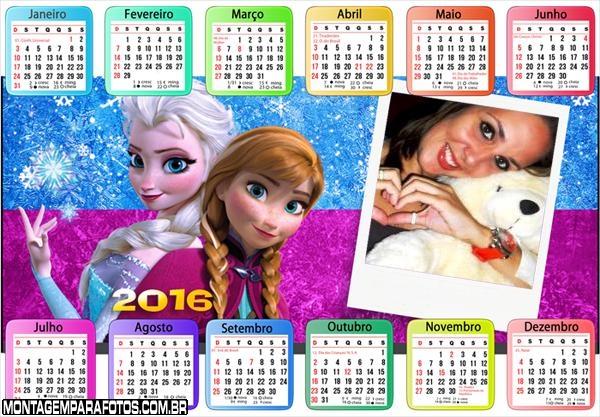 Calendário Princesa Elsa e Princesa Anna 2016
