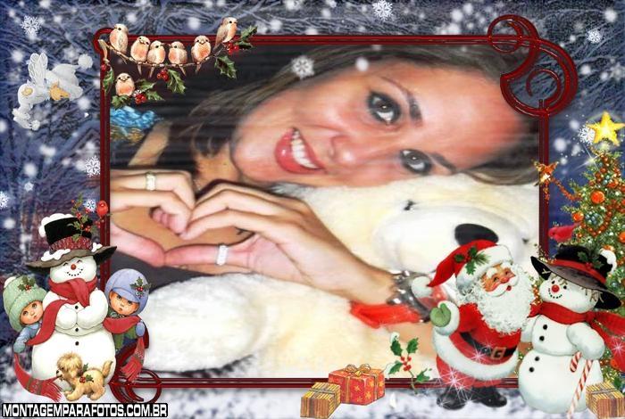 Papai Noel com Bonecos de Neve no Natal