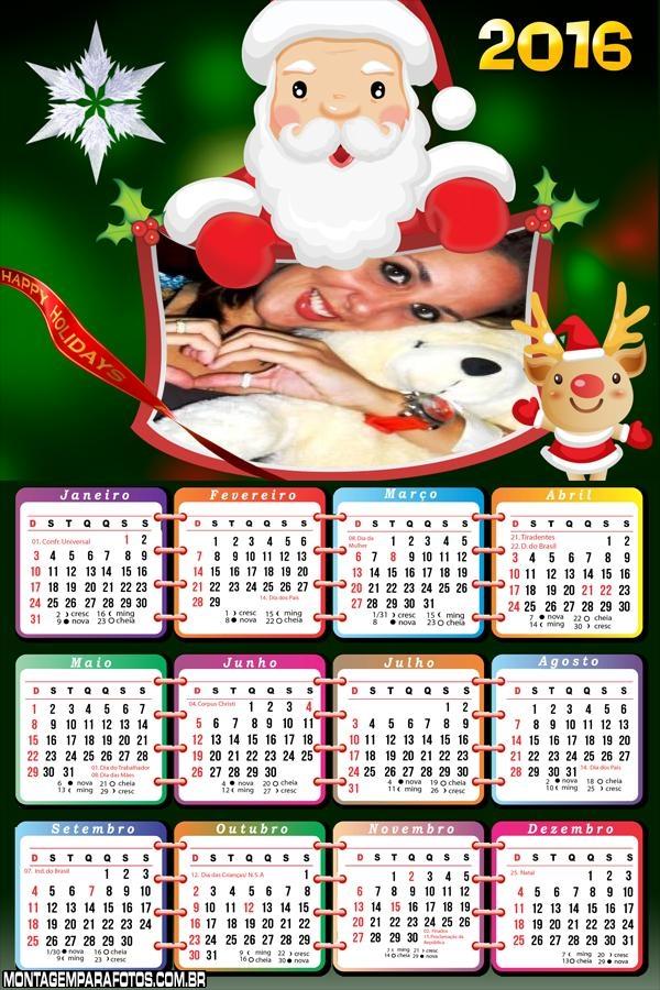 Calendário Papai Noel Feliz Natal 2016