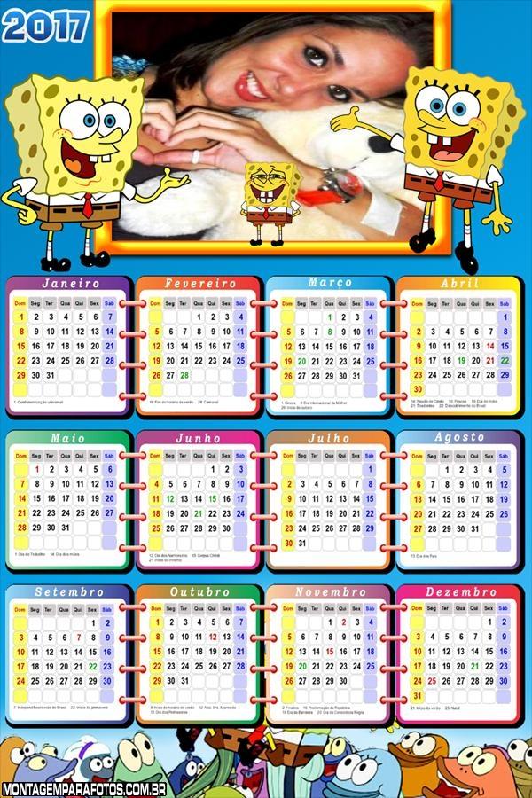 Calendário 2017 Bob Esponja Desenho