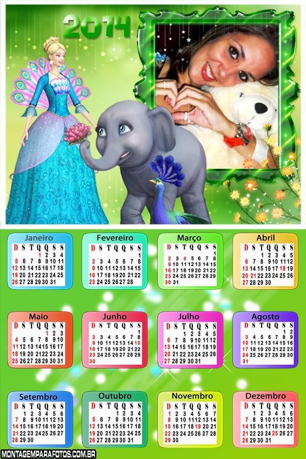 Calendário 2014 Barbie de Vestir