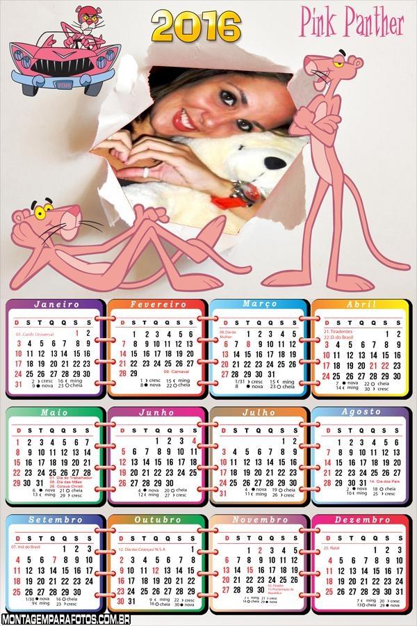 Calendário Pantera cor de Rosa 2016