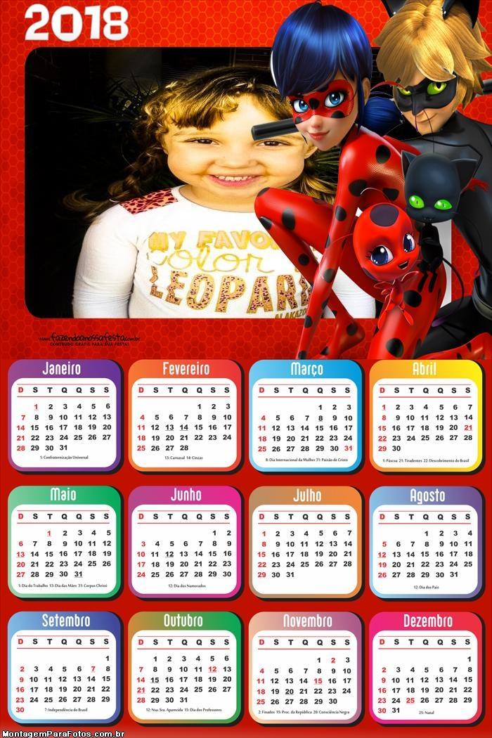 Calendário 2018 Cat Noir e Ladybug