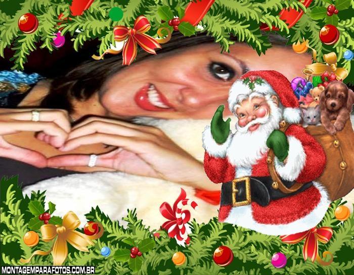 Desenho do Papai Noel Foto Moldura