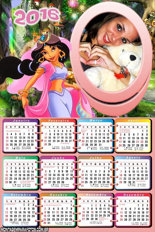 Calendário Princesa Jasmine Disney 2016
