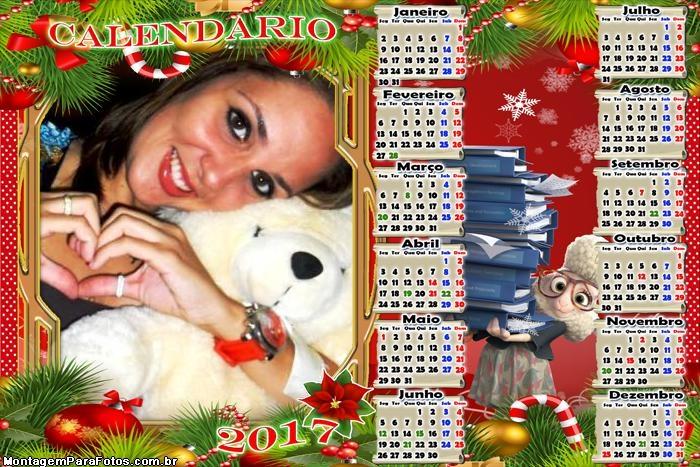 Calendário 2017 Ovelha Ajudande de Papai Noel