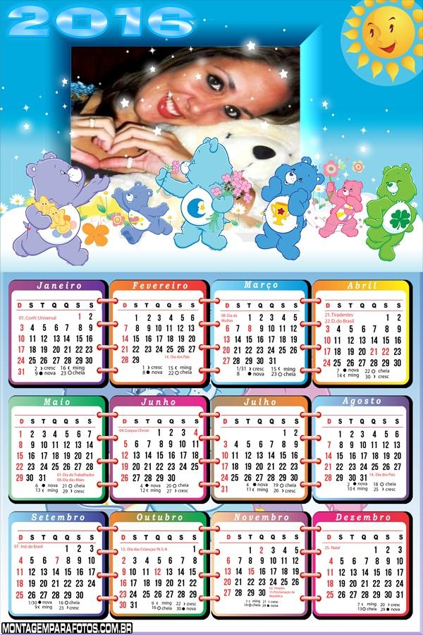 Calendário Ursinhos Carinhosos 2016 Desenho