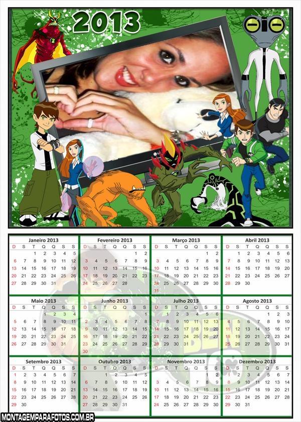 Calendário 2013 Ben 10 Moldura