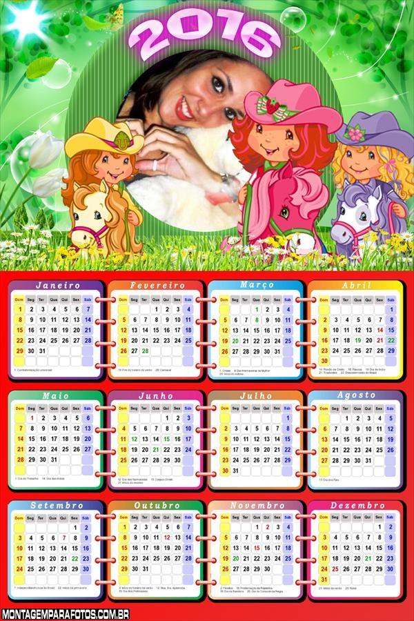 Calendário 2017 Cavalos da Moranguinho