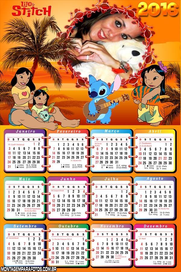 Calendário Lilo e Stitch 2016