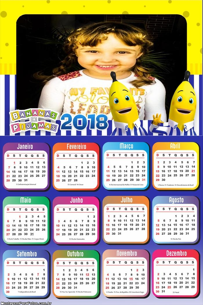 Calendário 2018 Banana de Pijamas