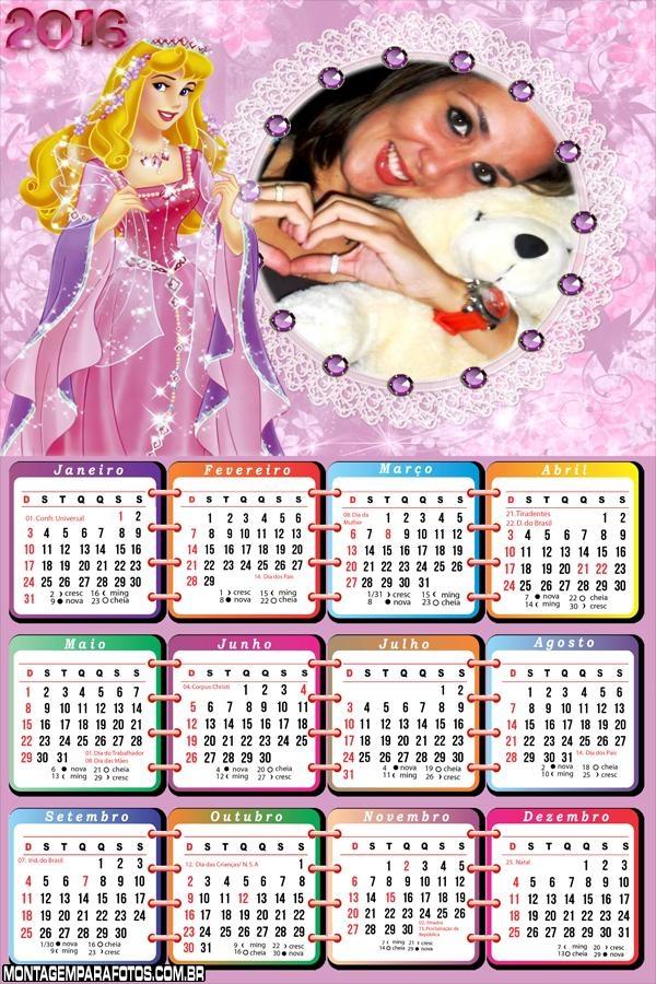 Calendário Princesa Disney 2016