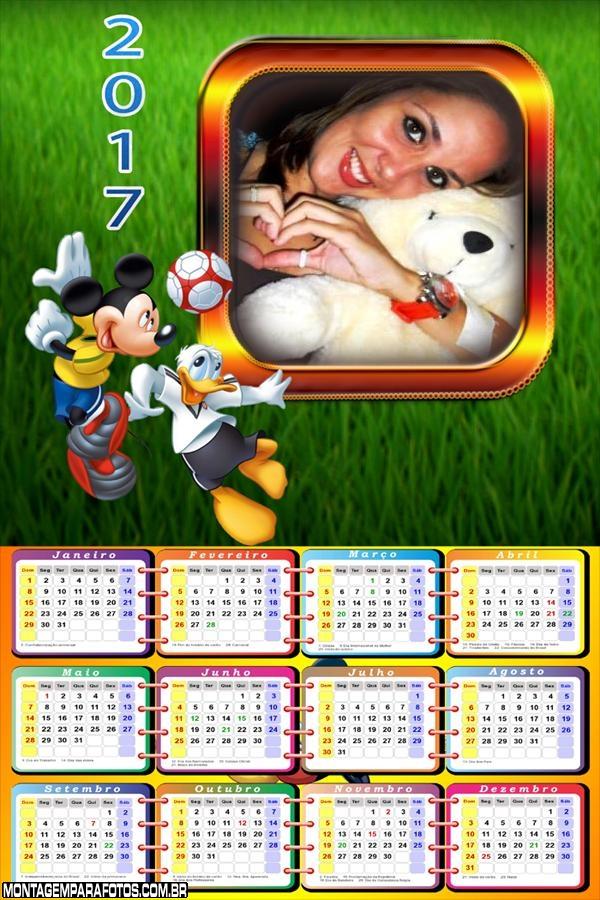 Calendário 2017 Futebol Mickey e Donald