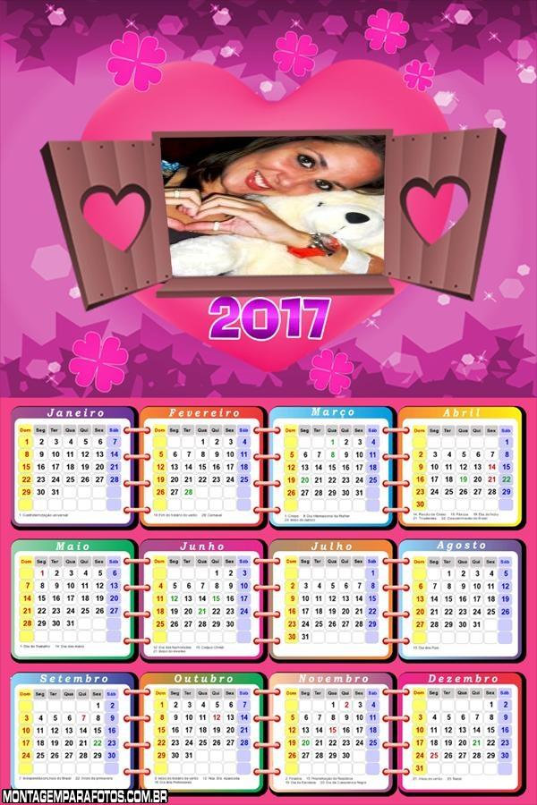 Calendário 2017 Romântico para Namorados e Casais