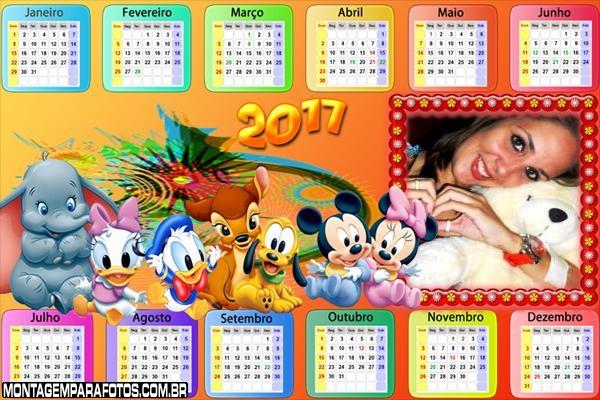 Calendário 2017 Horizontal Personagens Baby Disney