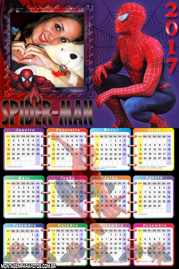Calendário 2017 do Homem Aranha