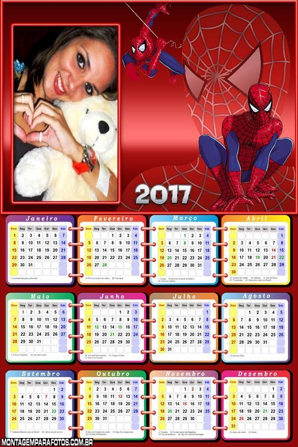 Calendário 2017 Sipder Man