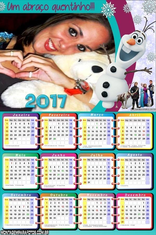 Calendário 2017 Boneco Frozen Olaf