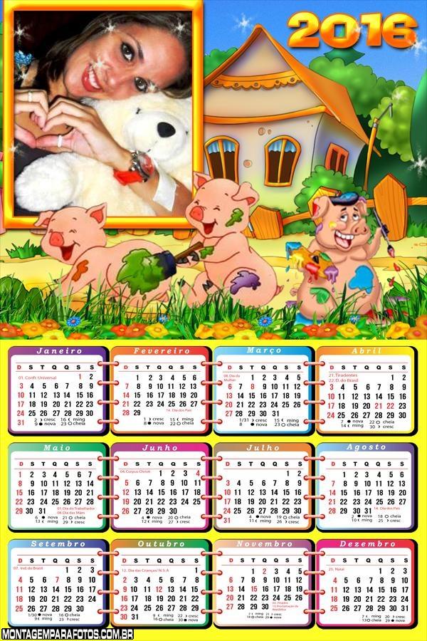 Calendário Os Três Porquinhos 2016
