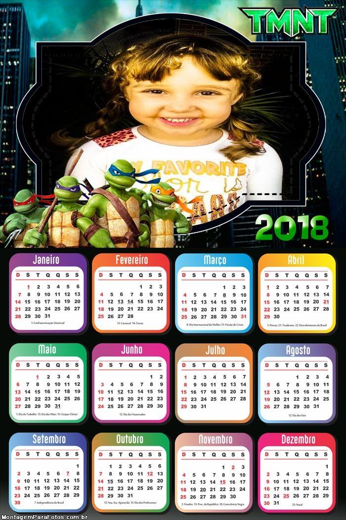 Calendário 2018 Tartarugas Ninjas