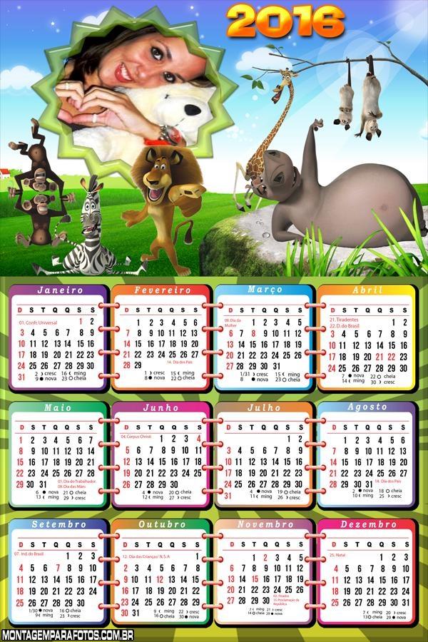 Calendário Desenho Madagascar 2016