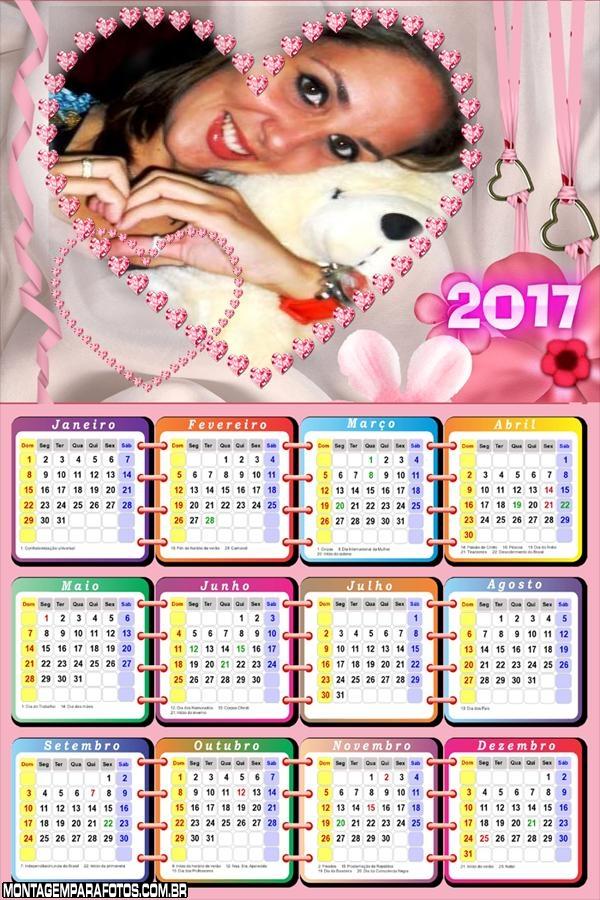 Calendário 2017 Lindo Coração Românticos