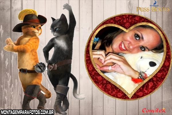Moldura Gata e Gato de Botas
