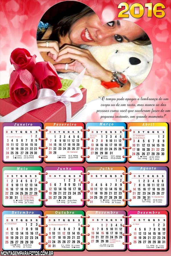 Calendário para Namorados 2016