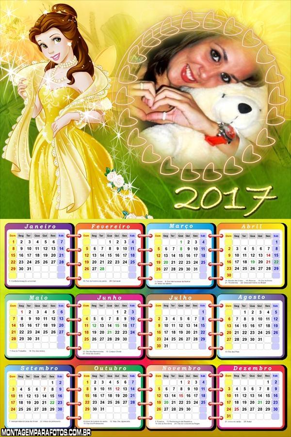 Calendário 2017 Princesa Bela Disney
