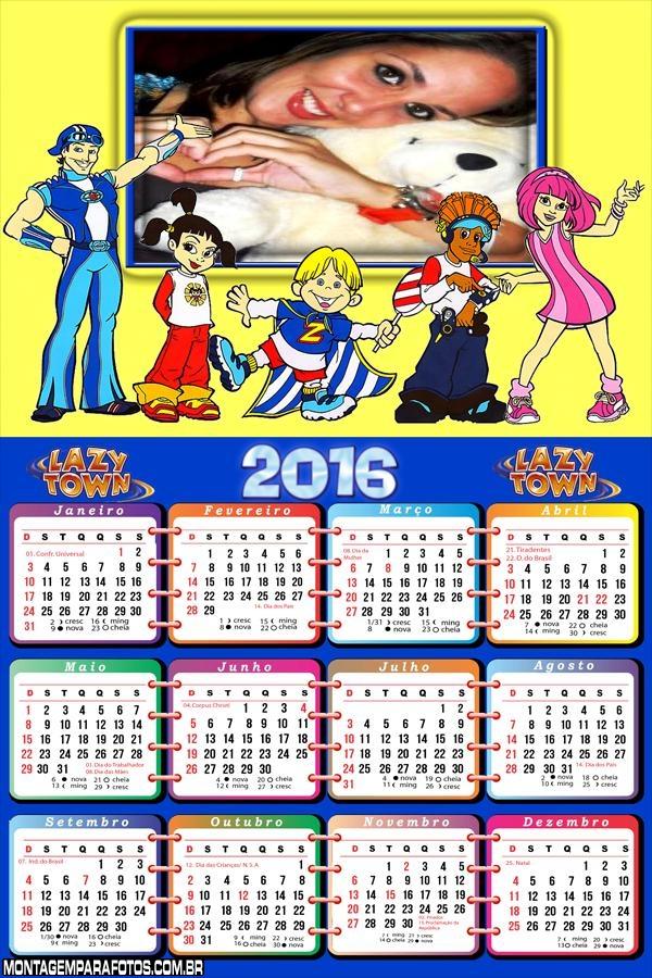 Calendário Personagens Lazy Town Kids 2016