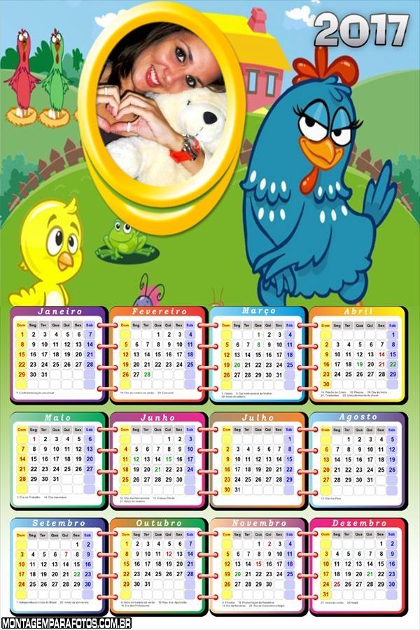 Calendário 2017 Pintinho Amarelinho e Galinha Pintadinha