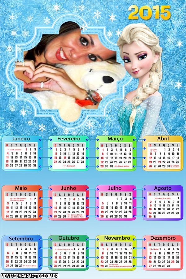 Calendário 2015 Elsa Frozen