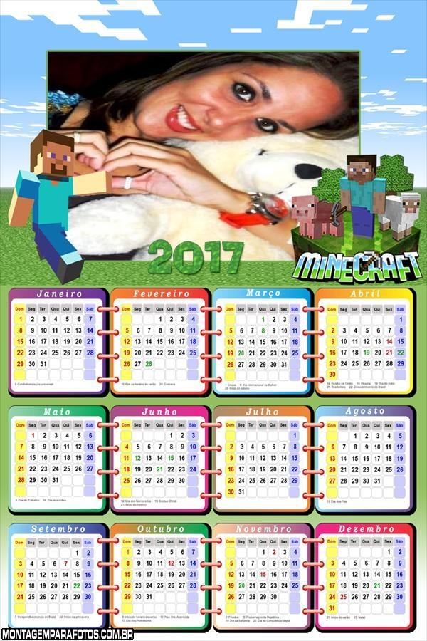 Calendário 2017 Minecraft