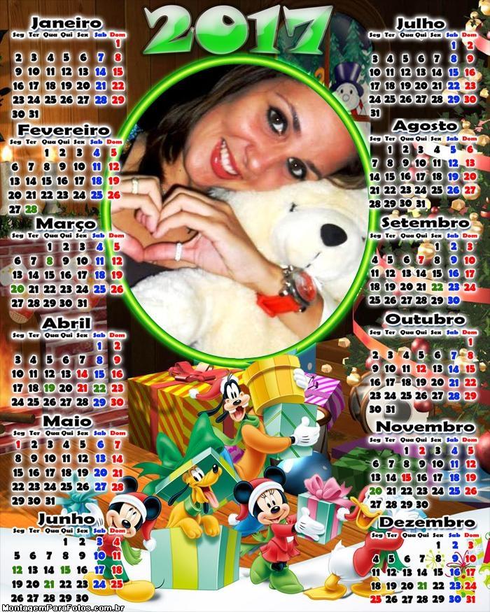 Calendário 2017  Natal Mickey Minnie Pateta e Pluto