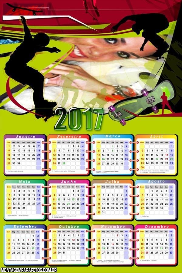 Calendário 2017 Skatista