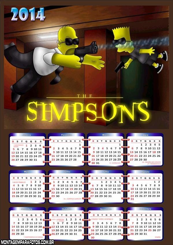 Calendário Os Simpsons 2014