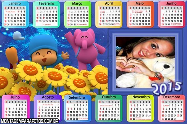 Calendário 2015 Pocoyo Moldura
