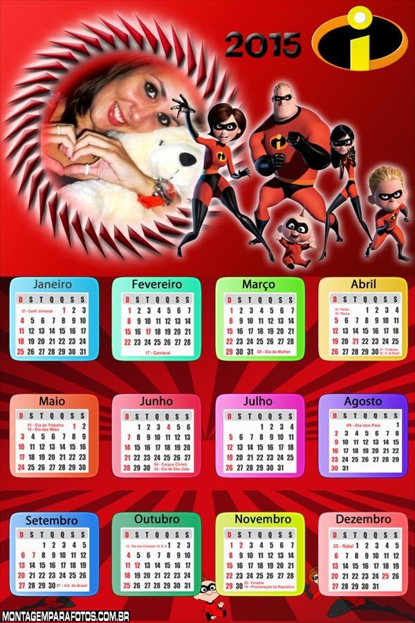 Calendário 2015 Família Incrível