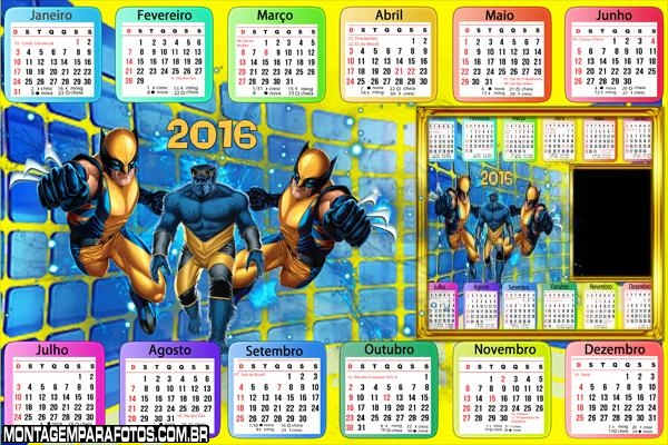 Calendário Wolverine 2016 Desenho