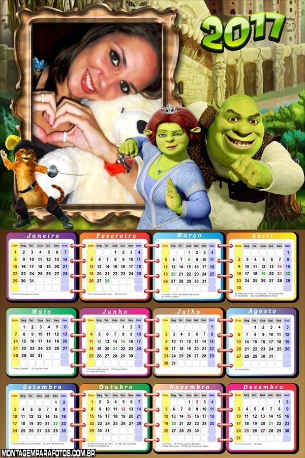 Calendário 2017 Sofia e Sherk