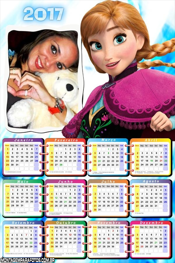 Calendário 2017 Princesa Anna Frozen