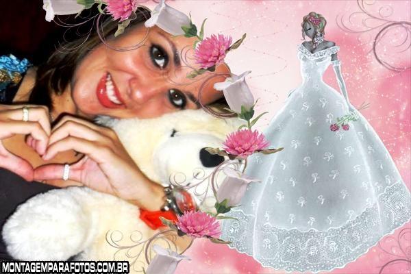 Moldura Desenho Noiva e Flores