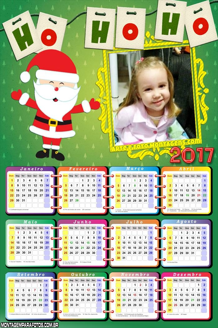 Calendário 2017 Papai Noel Cute Ho Ho Ho