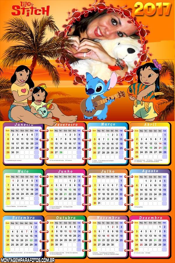 Calendário 2017 Desenho Lilo e Stitch