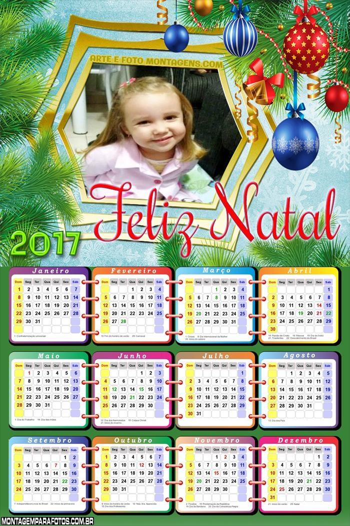 Calendário 2017 de Feliz Natal com Enfeites