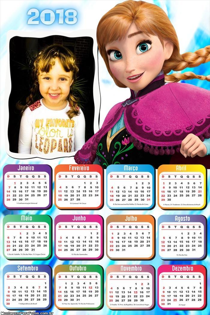 Calendário 2018 Anna Frozen Princesa