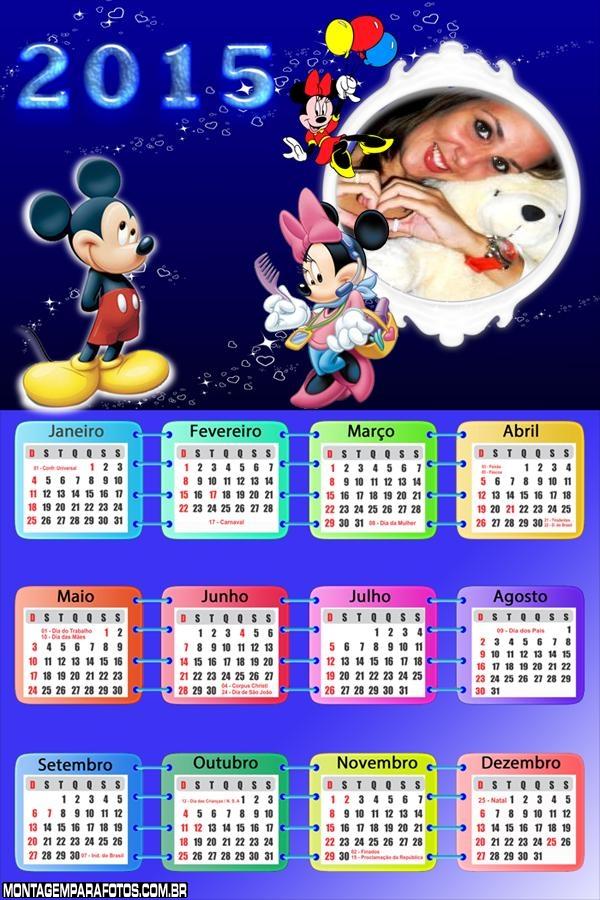 Calendário 2015 Minnie Mickey
