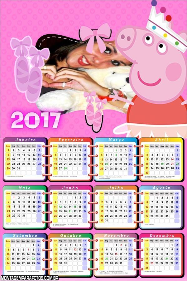 Calendário 2017 da Peppa Pig
